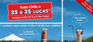 ofertas vuelos baratos LAN com 300x136 Vuelos Baratos desde 25 o 35 mil pesos a todo Chile en LAN.com